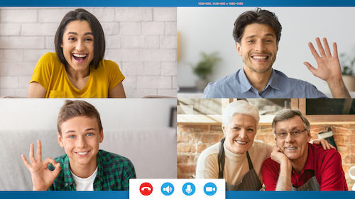photo of family connecting withZoom